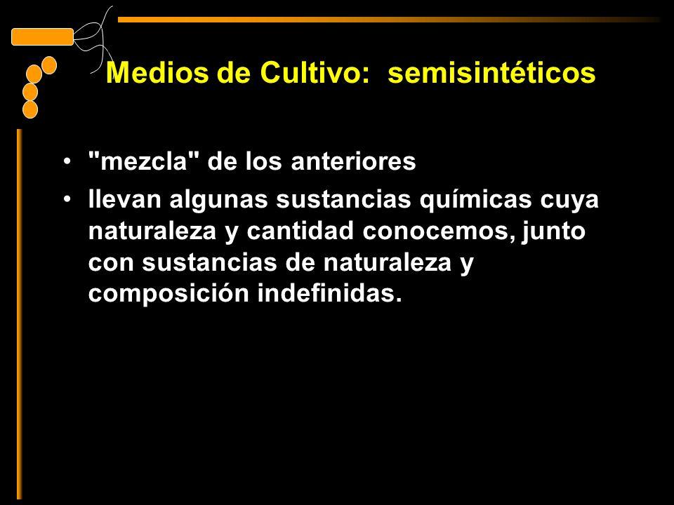 Medios de Cultivo: semisintéticos mezcla de los anteriores llevan algunas sustancias químicas cuya naturaleza y cantidad conocemos, junto con sustancias de naturaleza y composición indefinidas.