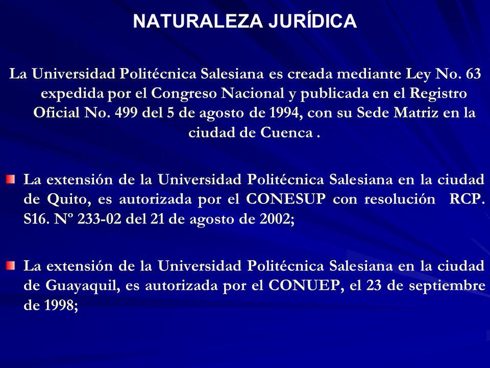 NATURALEZA JURÍDICA La Universidad Politécnica Salesiana es creada mediante Ley No. 63 expedida por el Congreso Nacional y publicada en el Registro Of