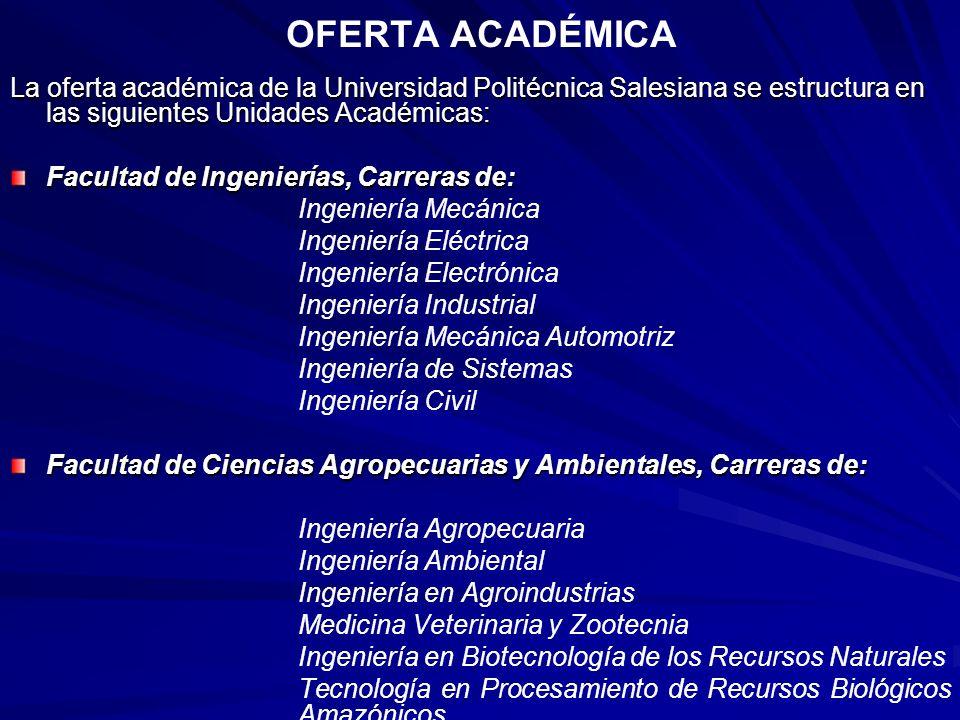 OFERTA ACADÉMICA La oferta académica de la Universidad Politécnica Salesiana se estructura en las siguientes Unidades Académicas: Facultad de Ingenier