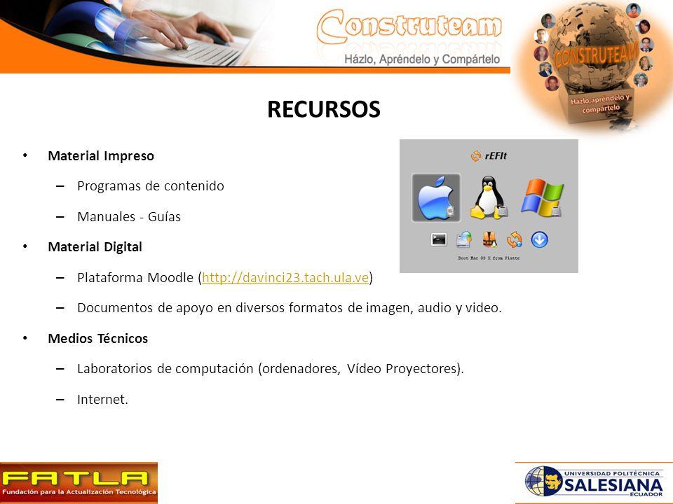 RECURSOS Material Impreso – Programas de contenido – Manuales - Guías Material Digital – Plataforma Moodle (http://davinci23.tach.ula.ve)http://davinci23.tach.ula.ve – Documentos de apoyo en diversos formatos de imagen, audio y video.