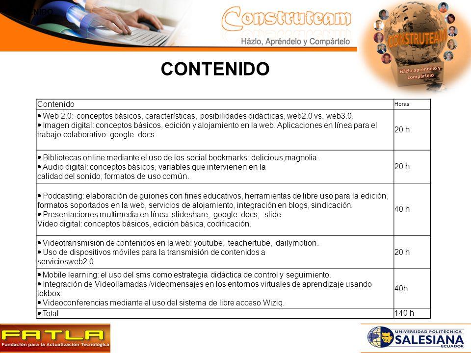 Contenido Horas Web 2.0: conceptos básicos, características, posibilidades didácticas, web2.0 vs.