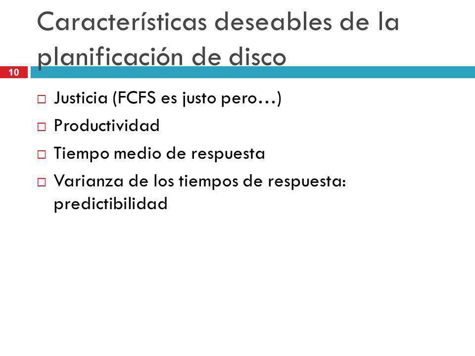10 Características deseables de la planificación de disco Justicia (FCFS es justo pero…) Productividad Tiempo medio de respuesta Varianza de los tiemp