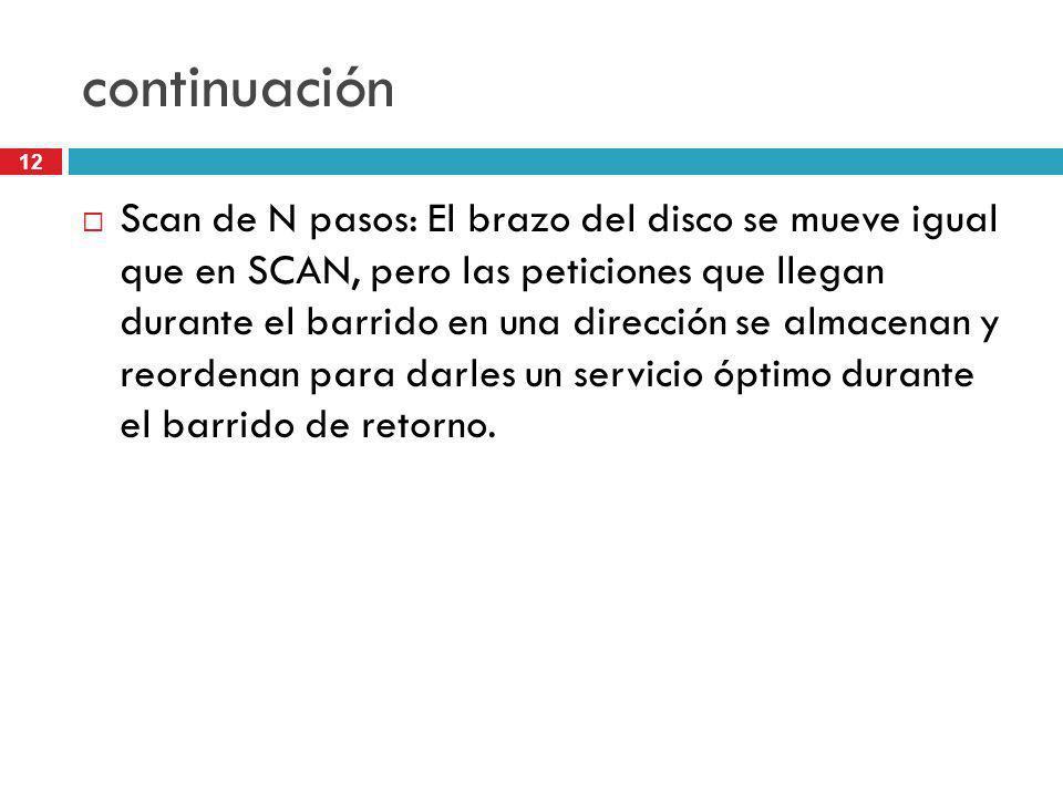 12 continuación Scan de N pasos: El brazo del disco se mueve igual que en SCAN, pero las peticiones que llegan durante el barrido en una dirección se