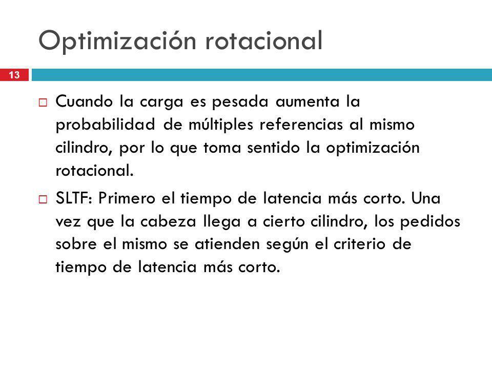 13 Optimización rotacional Cuando la carga es pesada aumenta la probabilidad de múltiples referencias al mismo cilindro, por lo que toma sentido la op
