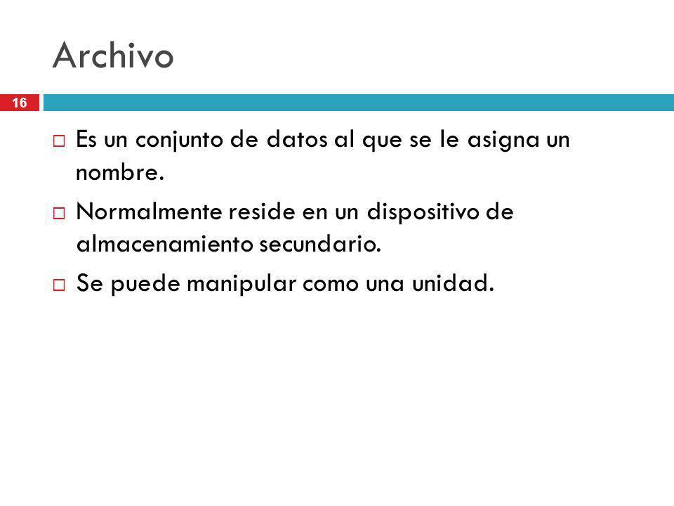 16 Archivo Es un conjunto de datos al que se le asigna un nombre. Normalmente reside en un dispositivo de almacenamiento secundario. Se puede manipula