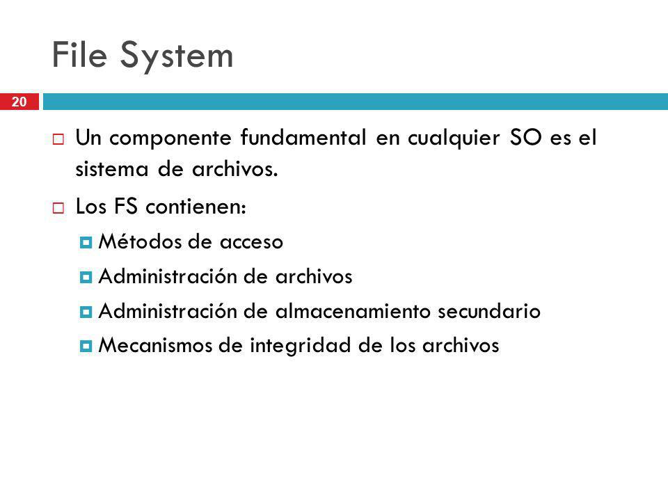 20 File System Un componente fundamental en cualquier SO es el sistema de archivos. Los FS contienen: Métodos de acceso Administración de archivos Adm