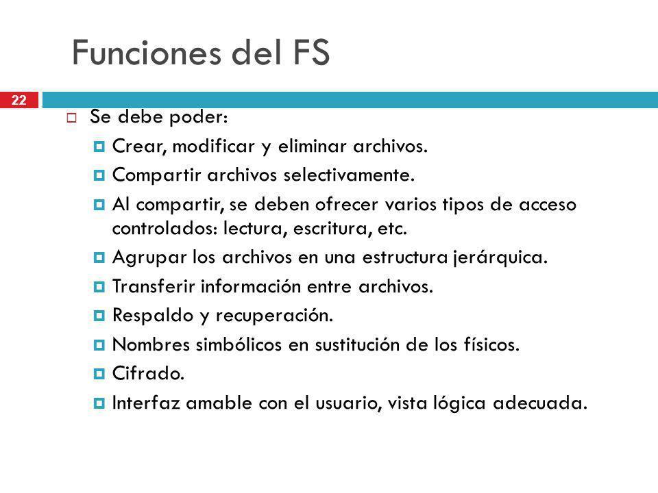 22 Funciones del FS Se debe poder: Crear, modificar y eliminar archivos. Compartir archivos selectivamente. Al compartir, se deben ofrecer varios tipo