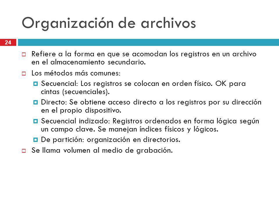 24 Organización de archivos Refiere a la forma en que se acomodan los registros en un archivo en el almacenamiento secundario. Los métodos más comunes