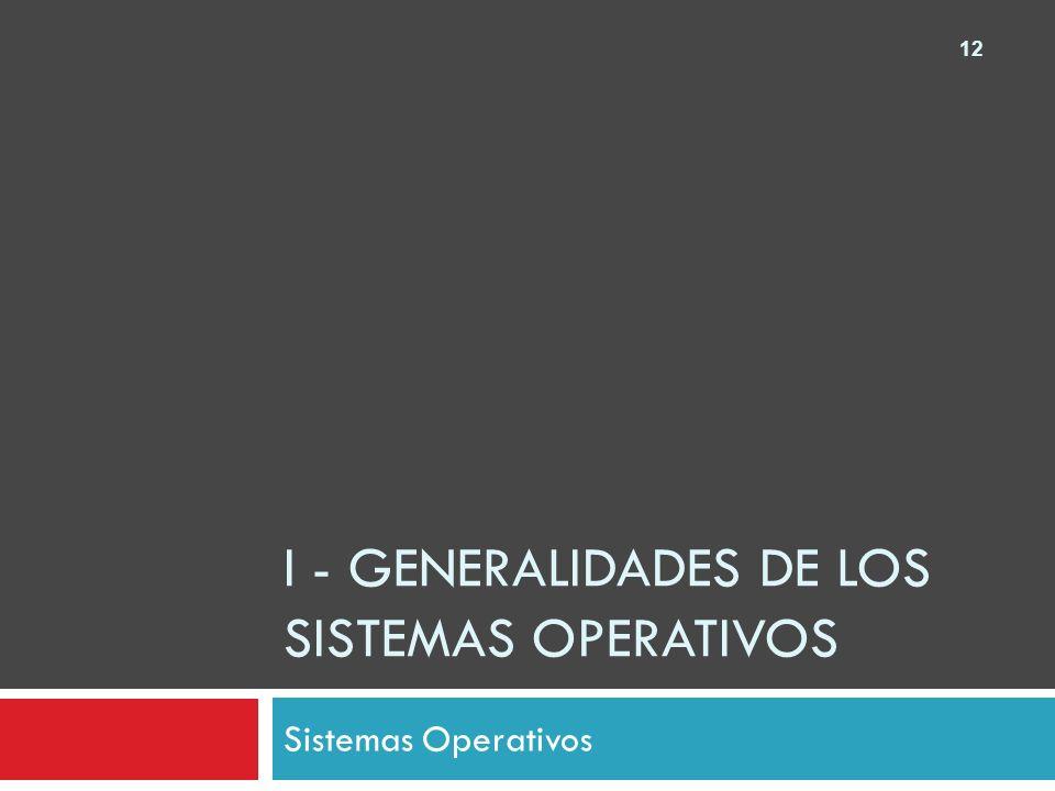 12 I - GENERALIDADES DE LOS SISTEMAS OPERATIVOS Sistemas Operativos