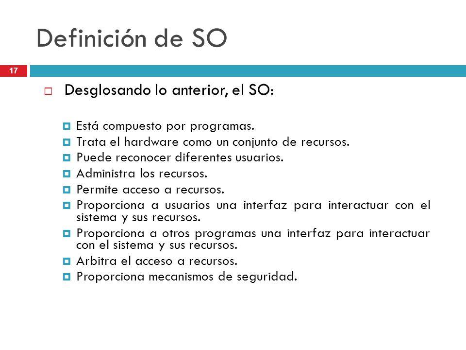 Definición de SO Desglosando lo anterior, el SO: Está compuesto por programas. Trata el hardware como un conjunto de recursos. Puede reconocer diferen