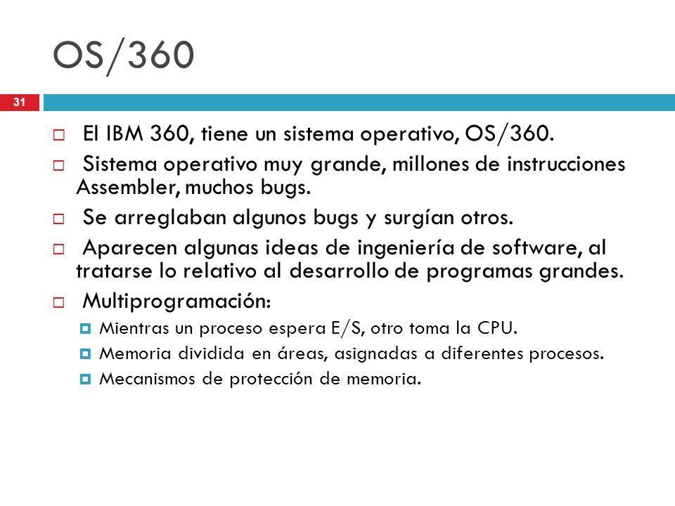 OS/360 El IBM 360, tiene un sistema operativo, OS/360. Sistema operativo muy grande, millones de instrucciones Assembler, muchos bugs. Se arreglaban a