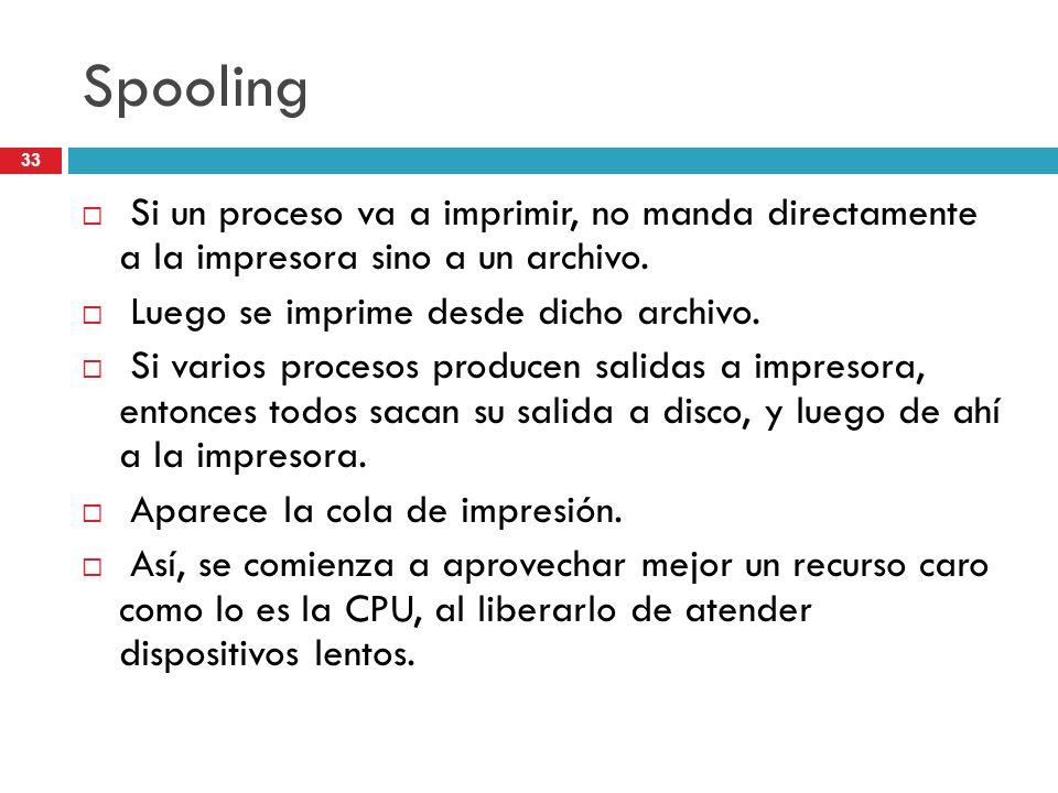 Spooling Si un proceso va a imprimir, no manda directamente a la impresora sino a un archivo. Luego se imprime desde dicho archivo. Si varios procesos