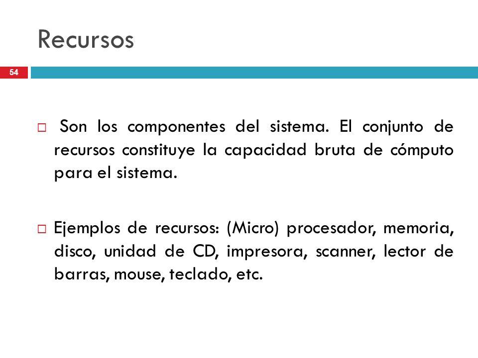 Recursos Son los componentes del sistema. El conjunto de recursos constituye la capacidad bruta de cómputo para el sistema. Ejemplos de recursos: (Mic