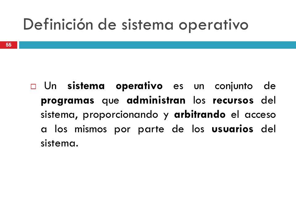 Definición de sistema operativo Un sistema operativo es un conjunto de programas que administran los recursos del sistema, proporcionando y arbitrando