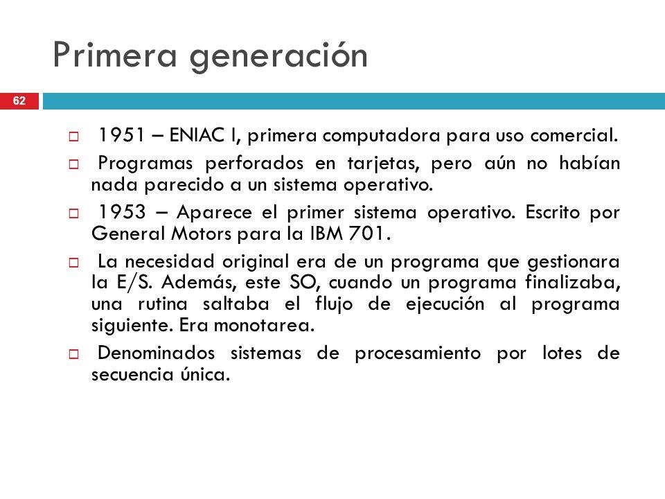 Primera generación 1951 – ENIAC I, primera computadora para uso comercial. Programas perforados en tarjetas, pero aún no habían nada parecido a un sis