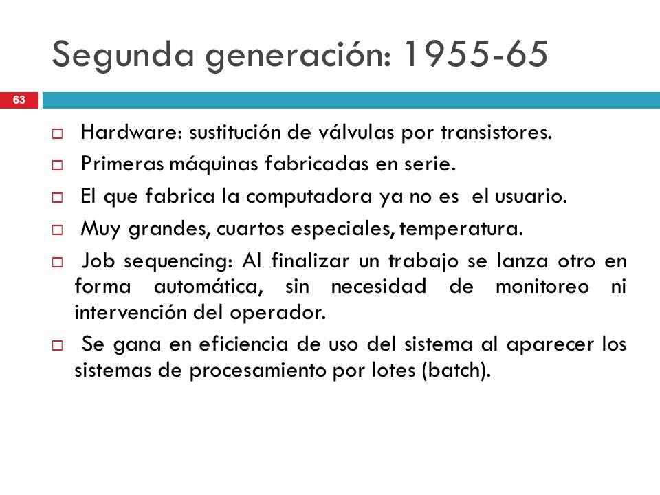 Segunda generación: 1955-65 Hardware: sustitución de válvulas por transistores. Primeras máquinas fabricadas en serie. El que fabrica la computadora y