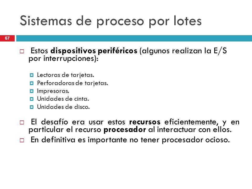Sistemas de proceso por lotes Estos dispositivos periféricos (algunos realizan la E/S por interrupciones): Lectoras de tarjetas. Perforadoras de tarje