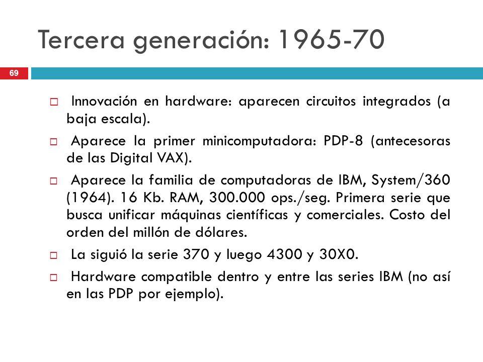 Tercera generación: 1965-70 Innovación en hardware: aparecen circuitos integrados (a baja escala). Aparece la primer minicomputadora: PDP-8 (antecesor