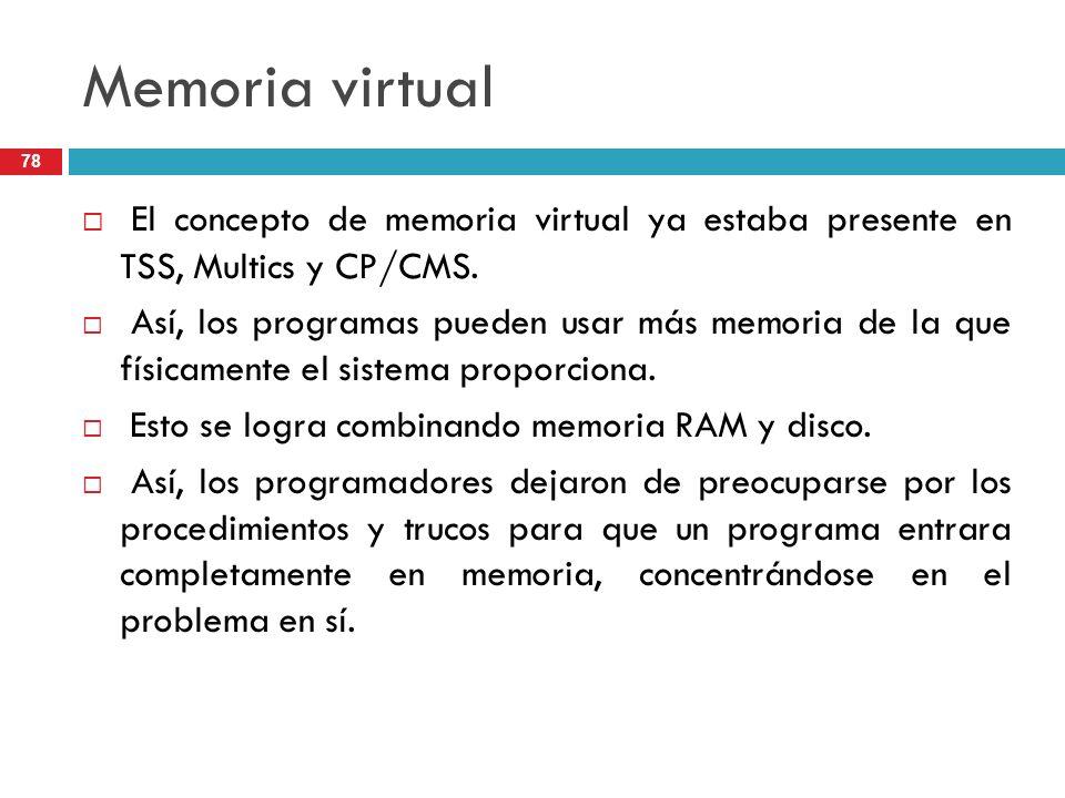 Memoria virtual El concepto de memoria virtual ya estaba presente en TSS, Multics y CP/CMS. Así, los programas pueden usar más memoria de la que físic