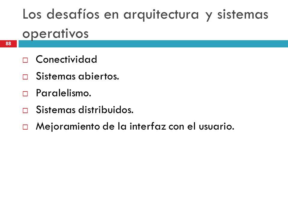 Los desafíos en arquitectura y sistemas operativos Conectividad Sistemas abiertos. Paralelismo. Sistemas distribuidos. Mejoramiento de la interfaz con