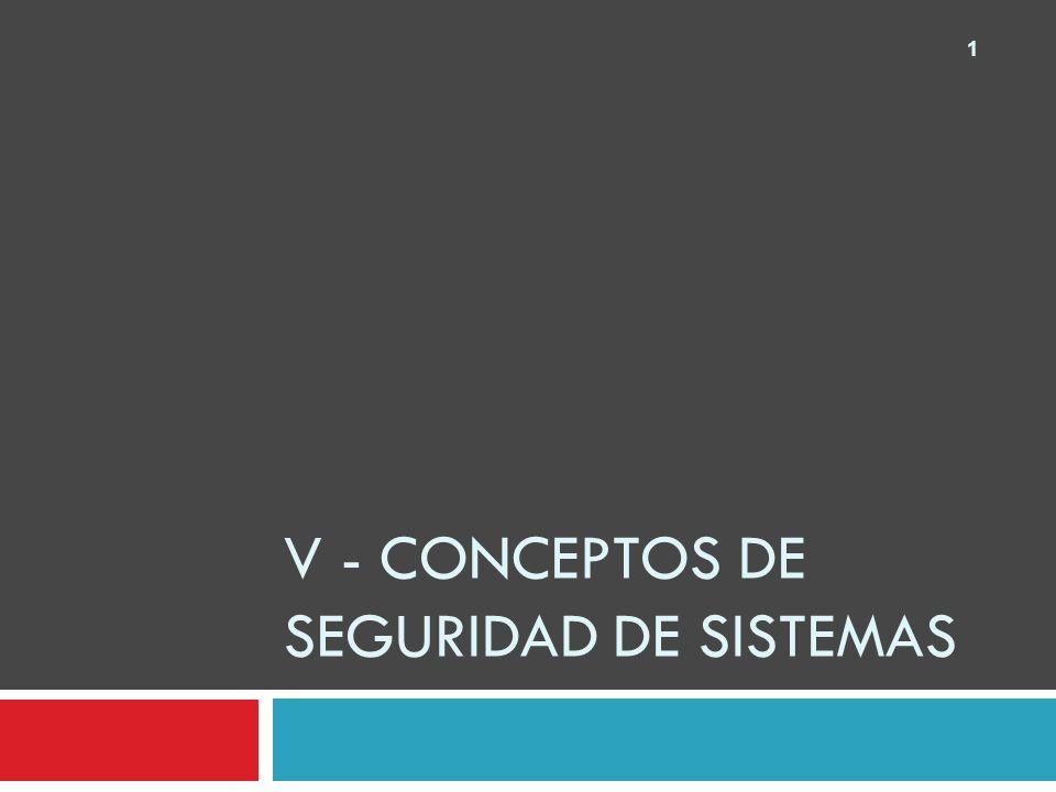 1 V - CONCEPTOS DE SEGURIDAD DE SISTEMAS
