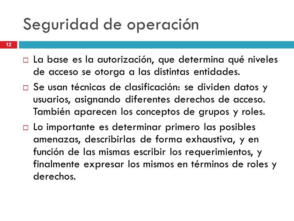 12 Seguridad de operación La base es la autorización, que determina qué niveles de acceso se otorga a las distintas entidades. Se usan técnicas de cla
