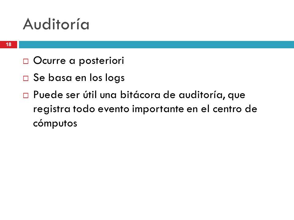 18 Auditoría Ocurre a posteriori Se basa en los logs Puede ser útil una bitácora de auditoría, que registra todo evento importante en el centro de cóm