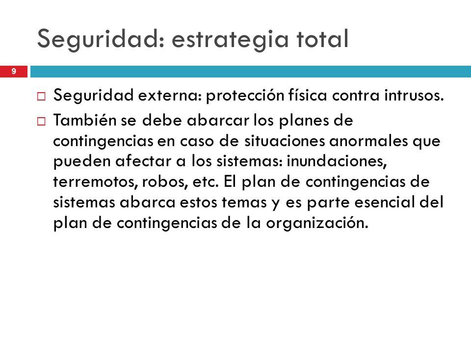 9 Seguridad: estrategia total Seguridad externa: protección física contra intrusos. También se debe abarcar los planes de contingencias en caso de sit