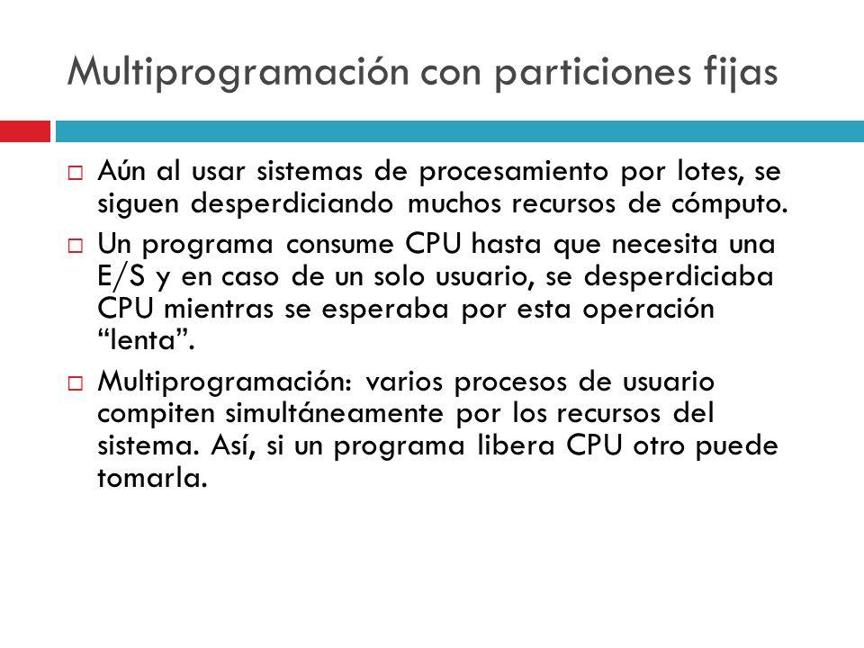 Multiprogramación con particiones fijas Aún al usar sistemas de procesamiento por lotes, se siguen desperdiciando muchos recursos de cómputo. Un progr