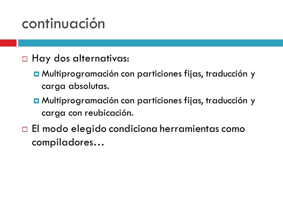 continuación Hay dos alternativas: Multiprogramación con particiones fijas, traducción y carga absolutas. Multiprogramación con particiones fijas, tra