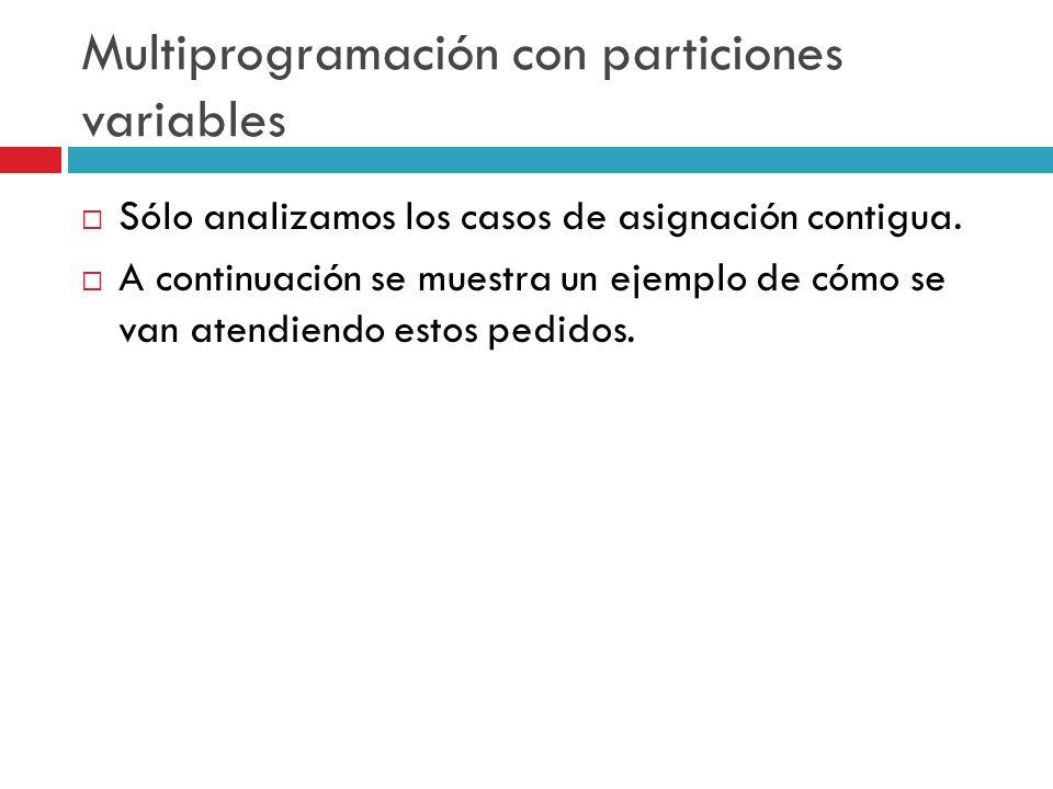 Multiprogramación con particiones variables Sólo analizamos los casos de asignación contigua. A continuación se muestra un ejemplo de cómo se van aten