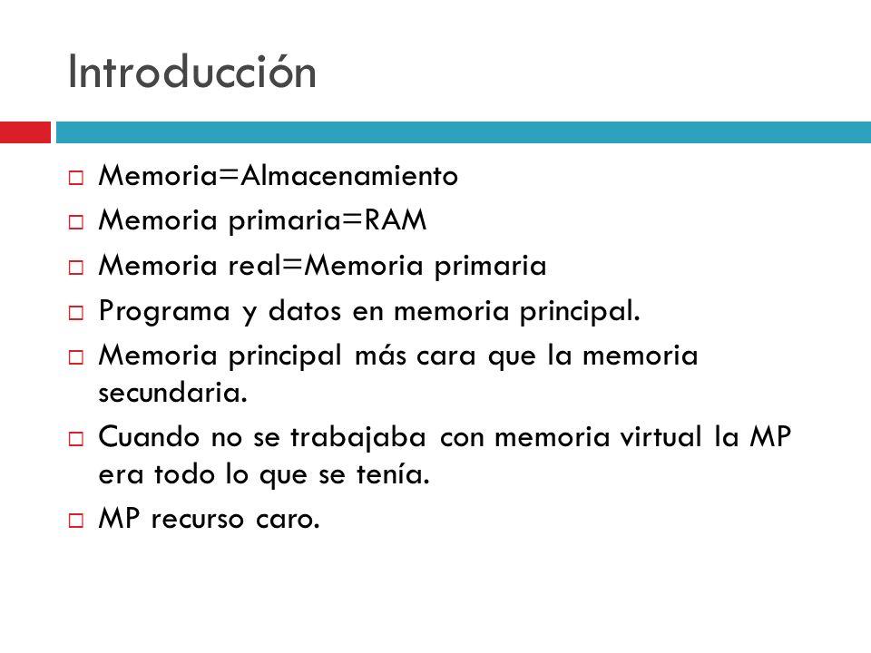 Introducción Memoria=Almacenamiento Memoria primaria=RAM Memoria real=Memoria primaria Programa y datos en memoria principal. Memoria principal más ca