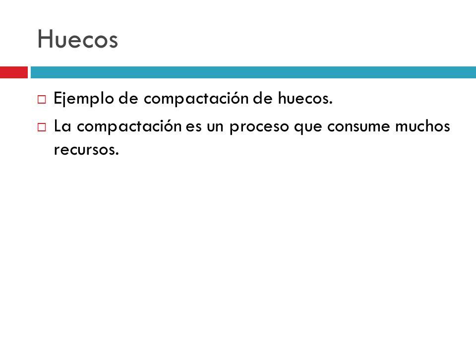 Huecos Ejemplo de compactación de huecos. La compactación es un proceso que consume muchos recursos.