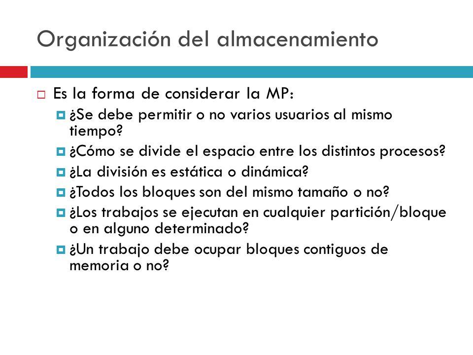 Organización del almacenamiento Es la forma de considerar la MP: ¿Se debe permitir o no varios usuarios al mismo tiempo? ¿Cómo se divide el espacio en