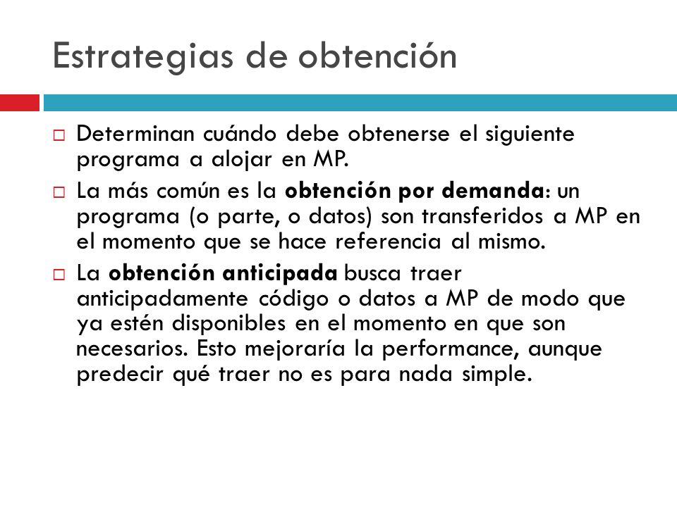 Estrategias de obtención Determinan cuándo debe obtenerse el siguiente programa a alojar en MP. La más común es la obtención por demanda: un programa