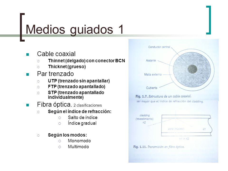 Medios guiados 1 Cable coaxial Thinnet (delgado) con conector BCN Thicknet (grueso) Par trenzado UTP (trenzado sin apantallar) FTP (trenzado apantalla