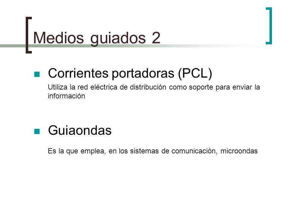 Medios guiados 2 Corrientes portadoras (PCL) Utiliza la red eléctrica de distribución como soporte para enviar la información Guiaondas Es la que empl