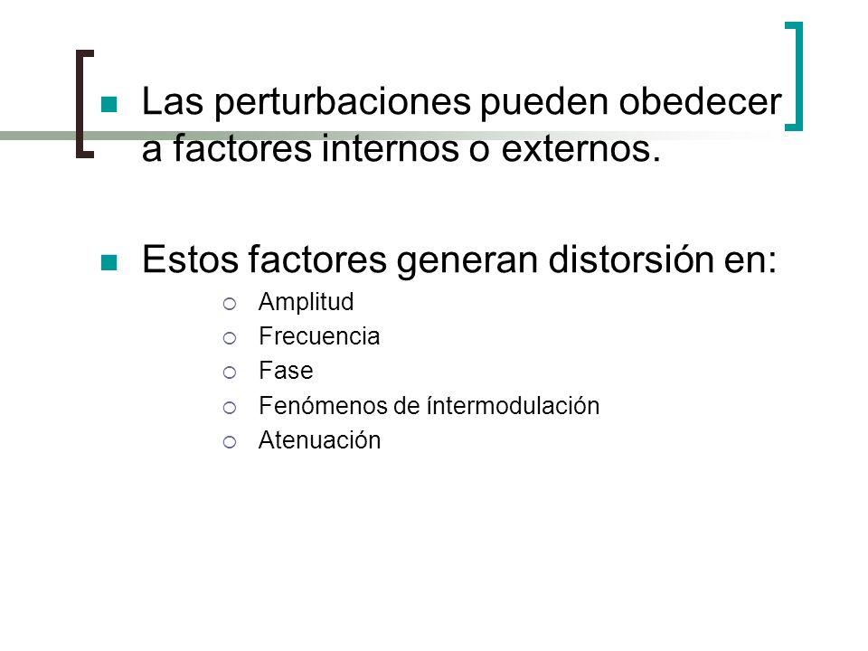 Las perturbaciones pueden obedecer a factores internos o externos. Estos factores generan distorsión en: Amplitud Frecuencia Fase Fenómenos de íntermo