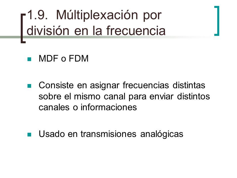 1.9. Múltiplexación por división en la frecuencia MDF o FDM Consiste en asignar frecuencias distintas sobre el mismo canal para enviar distintos canal