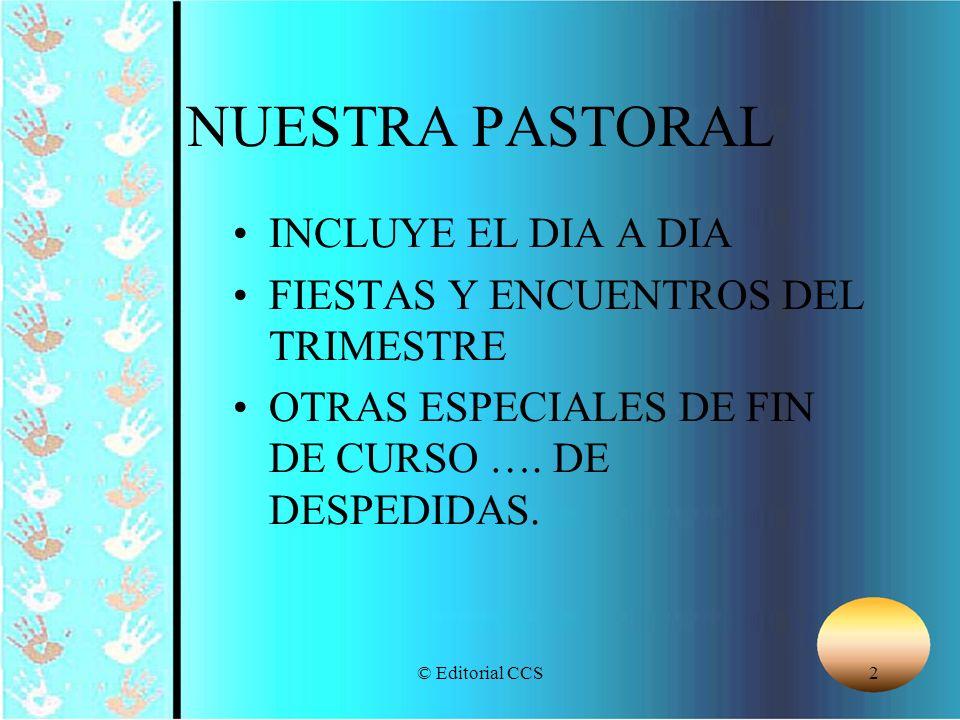 © Editorial CCS2 NUESTRA PASTORAL INCLUYE EL DIA A DIA FIESTAS Y ENCUENTROS DEL TRIMESTRE OTRAS ESPECIALES DE FIN DE CURSO …. DE DESPEDIDAS.