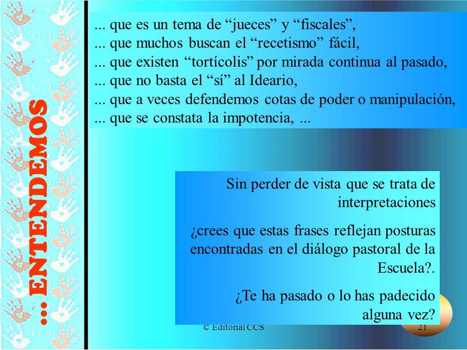 © Editorial CCS21... que es un tema de jueces y fiscales,... que muchos buscan el recetismo fácil,... que existen tortícolis por mirada continua al pa