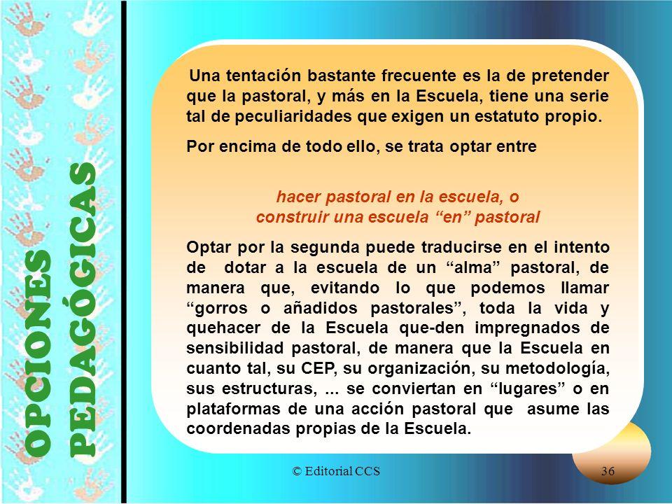 © Editorial CCS36 OPCIONES PEDAGÓGICAS Una tentación bastante frecuente es la de pretender que la pastoral, y más en la Escuela, tiene una serie tal d
