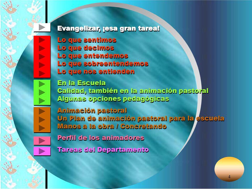 © Editorial CCS95 FUNCIONES DEL DEPARTAMENTO Se indican algunas áreas de intervención del Departamento de Animación Pastoral de la Escuela que, deberán ser tenidas en cuenta en función de su complejidad y su propia orga- nización.