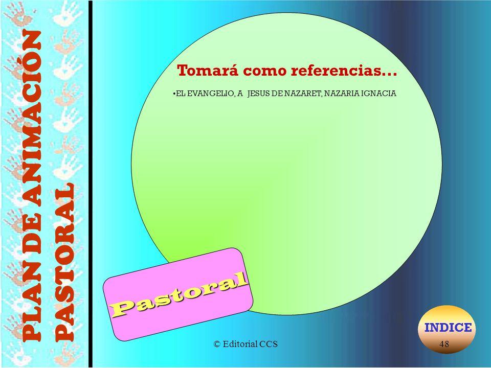 © Editorial CCS48 Tomará como referencias... EL EVANGELIO, A JESUS DE NAZARET, NAZARIA IGNACIA PLAN DE ANIMACIÓN PASTORAL INDICEPastoral