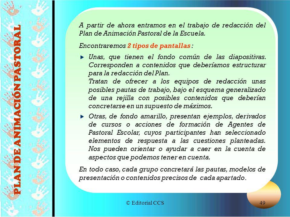 © Editorial CCS49 PLAN DE ANIMACIÓN PASTORAL A partir de ahora entramos en el trabajo de redacción del Plan de Animación Pastoral de la Escuela. Encon