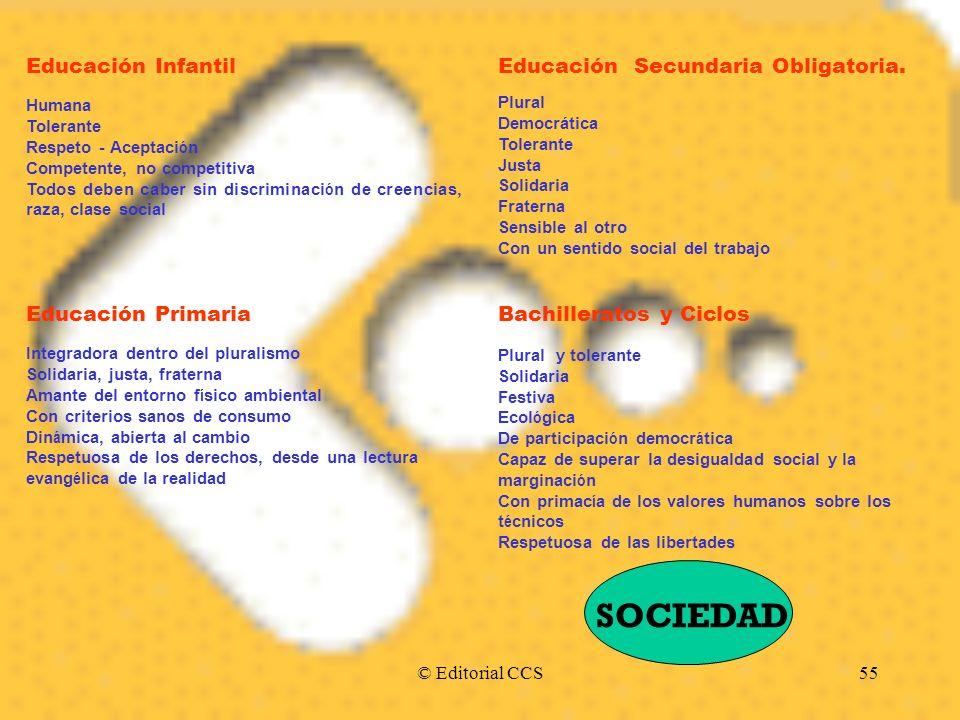 © Editorial CCS55 Educación Infantil Humana Tolerante Respeto - Aceptaci ó n Competente, no competitiva Todos deben caber sin discriminaci ó n de cree