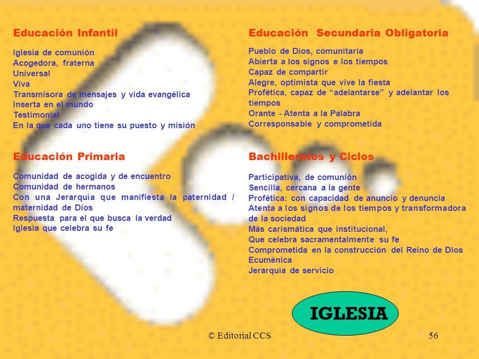 © Editorial CCS56 Educación Infantil Iglesia de comunión Acogedora, fraterna Universal Viva Transmisora de mensajes y vida evangélica Inserta en el mu