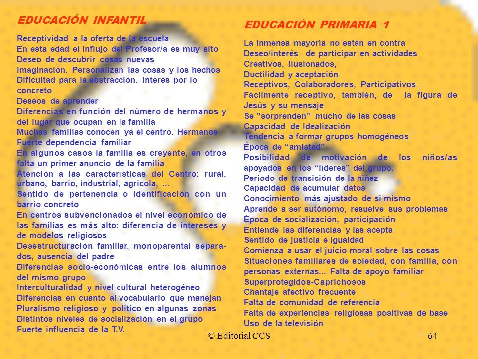 © Editorial CCS64 EDUCACIÓN INFANTIL Receptividad a la oferta de la escuela En esta edad el influjo del Profesor/a es muy alto Deseo de descubrir cosa