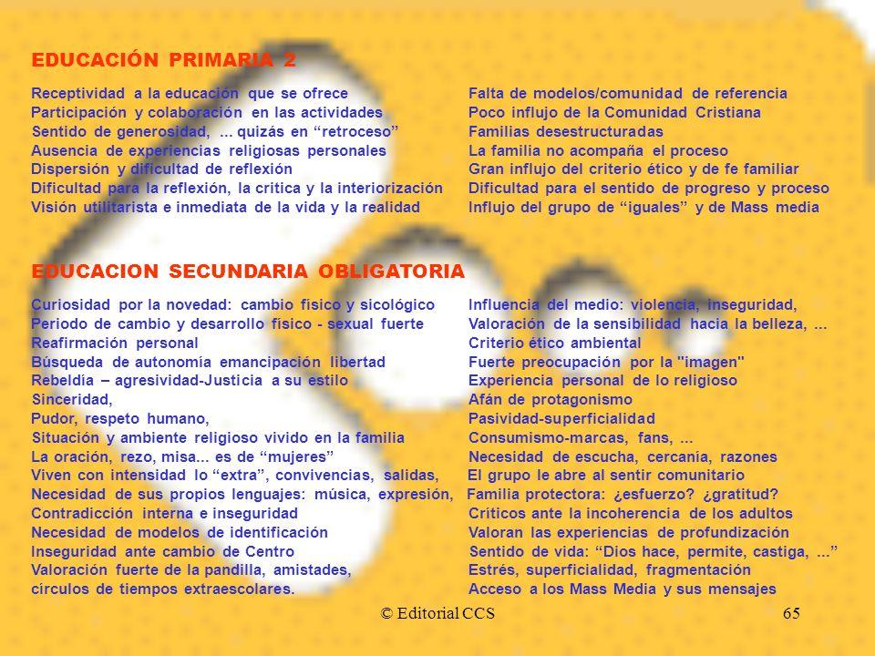 © Editorial CCS65 EDUCACIÓN PRIMARIA 2 Receptividad a la educación que se ofrece Falta de modelos/comunidad de referencia Participación y colaboración