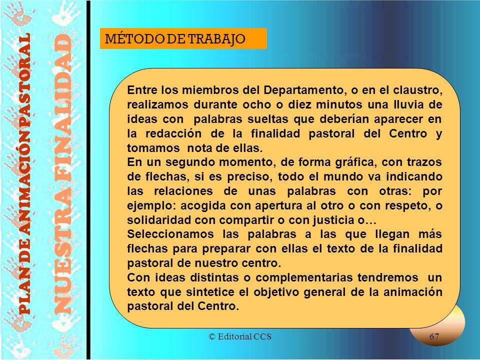 © Editorial CCS67 PLAN DE ANIMACIÓN PASTORAL NUESTRA FINALIDAD Entre los miembros del Departamento, o en el claustro, realizamos durante ocho o diez m